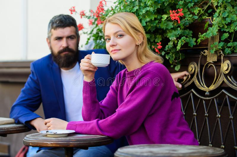 Couple terrace drinking coffee. Casual meet acquaintance public place. Meeting people first date. Strangers meet become. Acquaintances. Apps normal way to meet royalty free stock photography