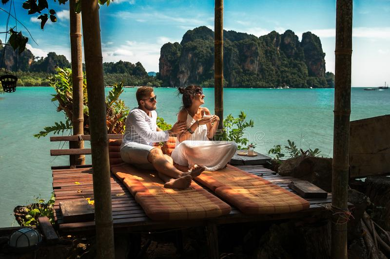 Couple on their honeymoon. Couple travels the world. Happy couple on vacation. Man and woman traveling to Thailand. Holidays on royalty free stock image