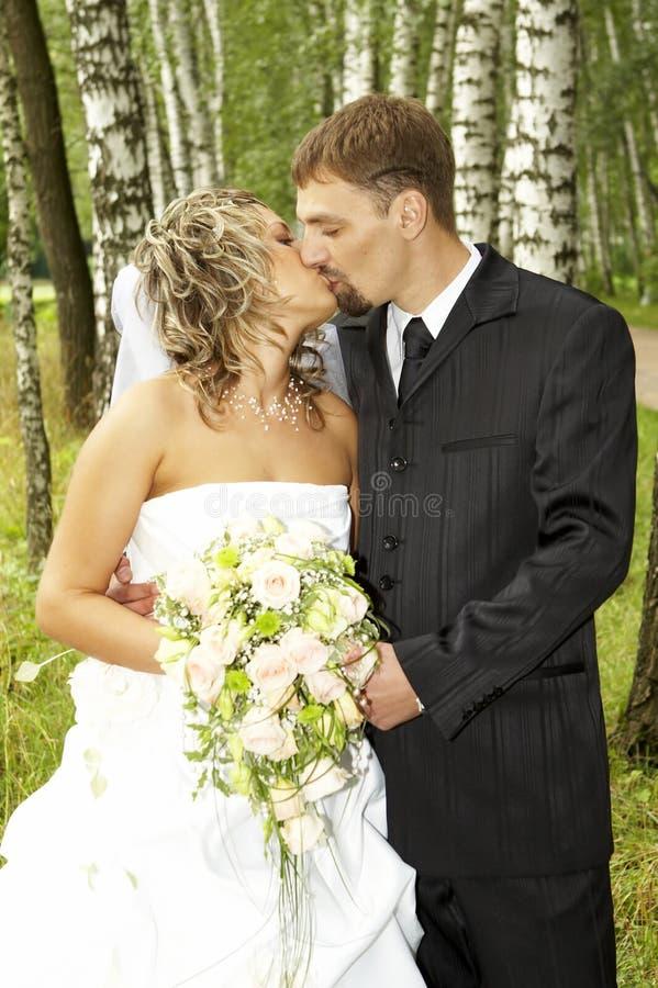 A couple on their wedding day stock photo