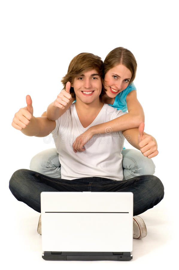 Couple With Thumbs Up Stock Photos