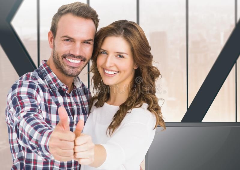 Couple thumbs up at home. Digital composite of Couple thumbs up at home vector illustration