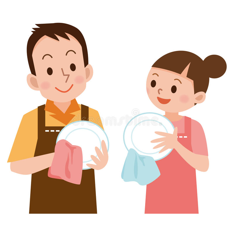 Couple to wipe the dishes stock vector. Illustration of ...