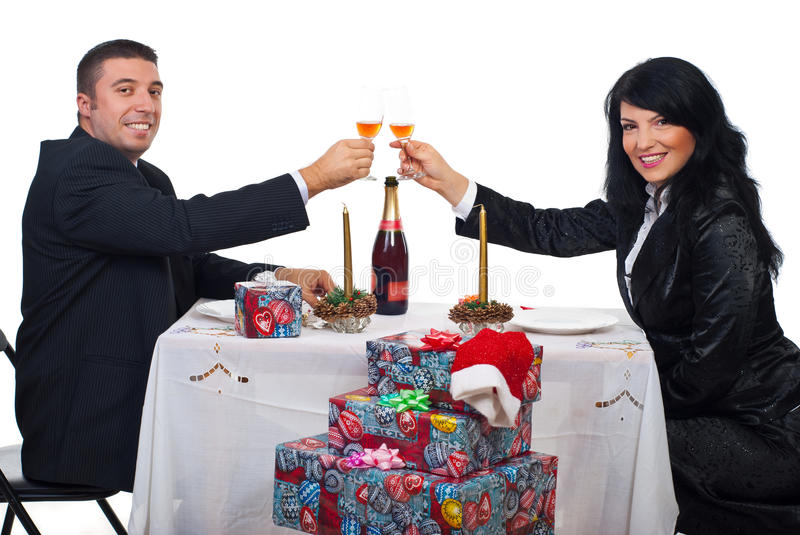 Download Couple Toast With Champagne At Christmas Dinner Stock Image - Image of businesspeople, cheerful: 16601693
