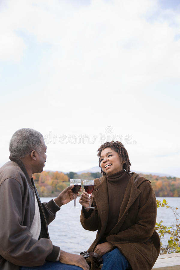 A couple toasting royalty free stock photos