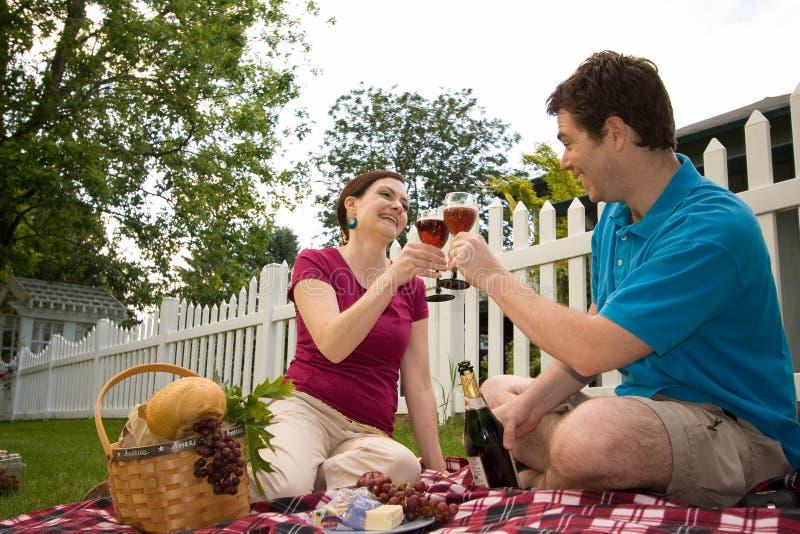 Couple Toasting on Picnic-Horizontal stock photo