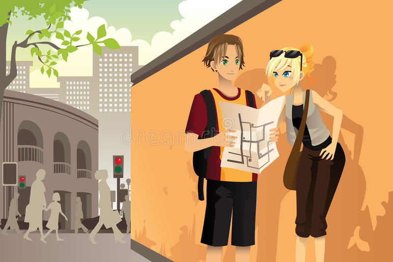 Download Couple tourist stock vector. Illustration of drawing - 25653189