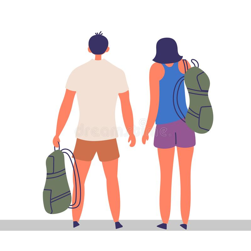 A couple of tourists spend time together. Traveling together. EPS 10 vector editable illustration royalty free illustration