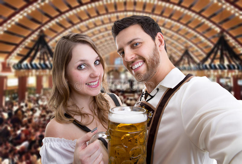 Couple in traditional bavarian costume in Germany.  royalty free stock photos
