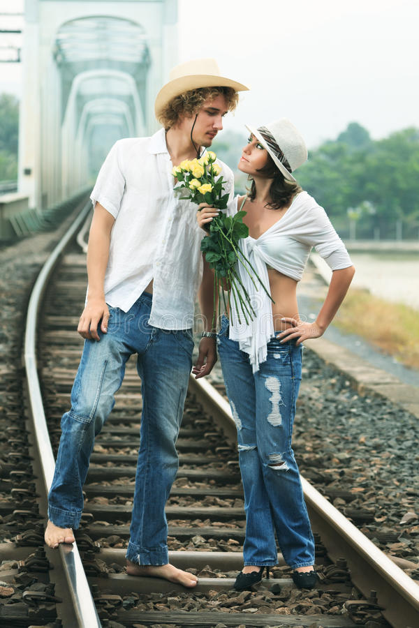 Couple On Train Tracks Royalty Free Stock Photography