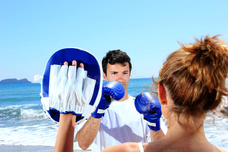 Download Couple traning boxing stock image. Image of fighting - 24342863