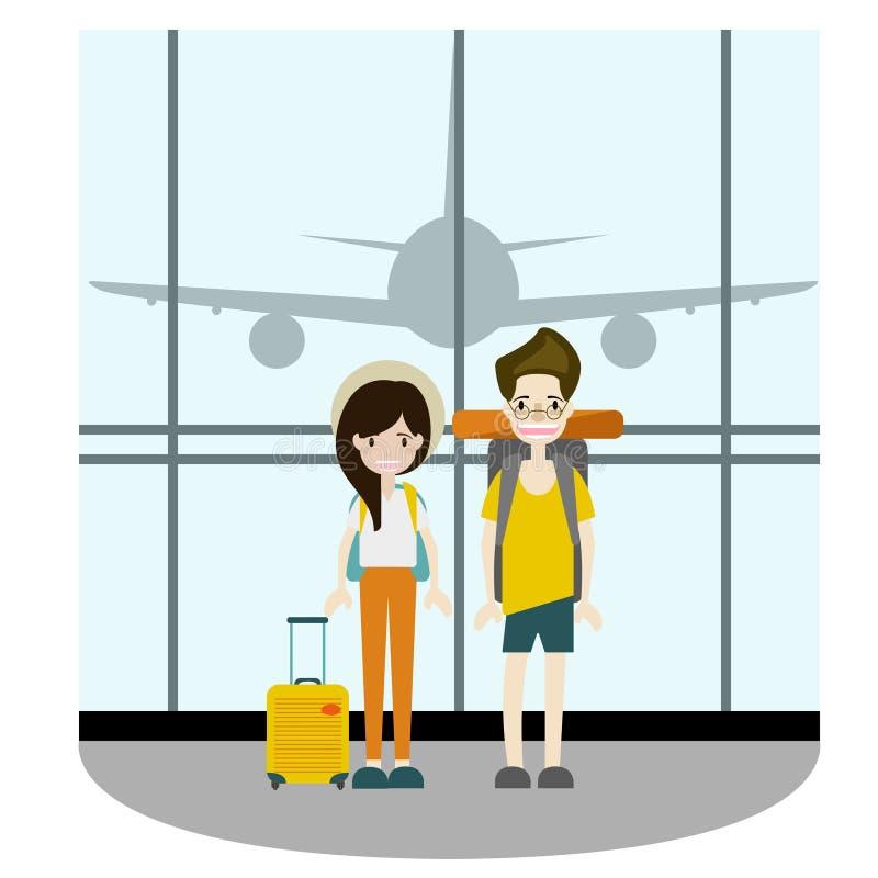 Couple traveler take a photo at terminal vector stock image