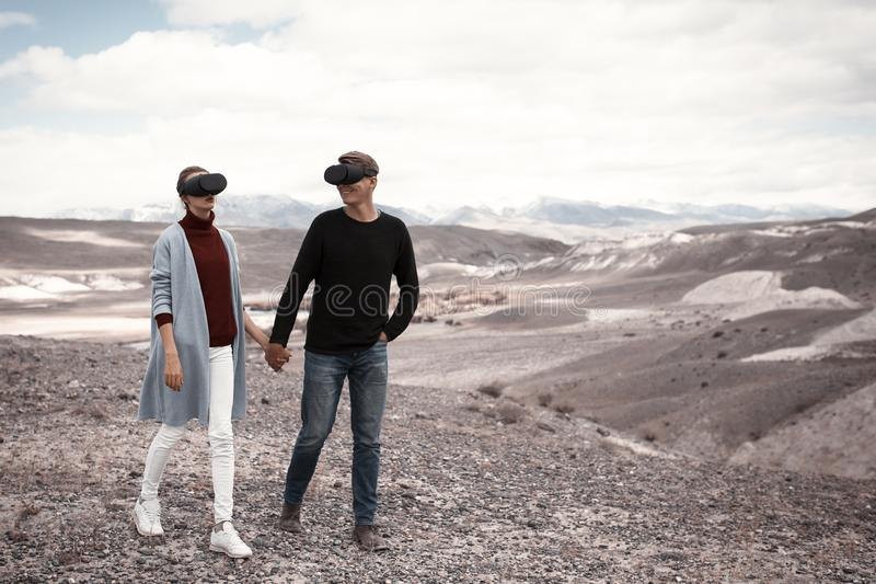 Couple travels in virtual reality stock photography