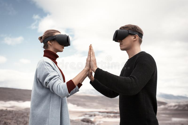 Couple travels in virtual reality stock photos
