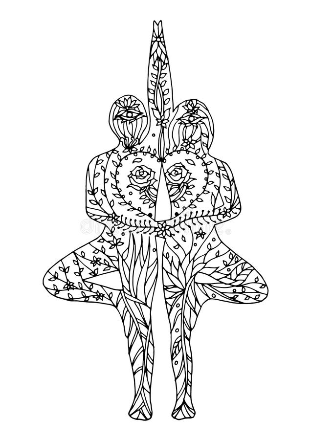 Free Couple Tree Pose Yoga 7 Chakra Vector Flower Floral Drawing Hand Drawn Stock Photos - 95063063