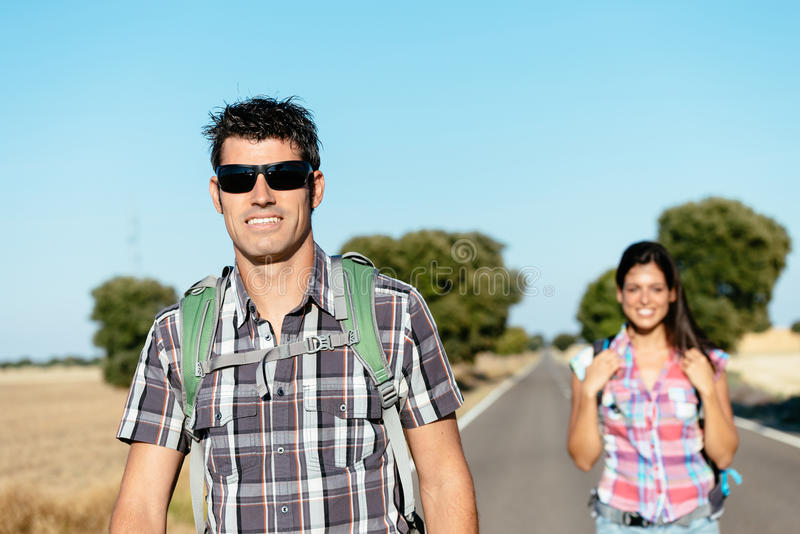 Couple on trekking travel in spain royalty free stock photos