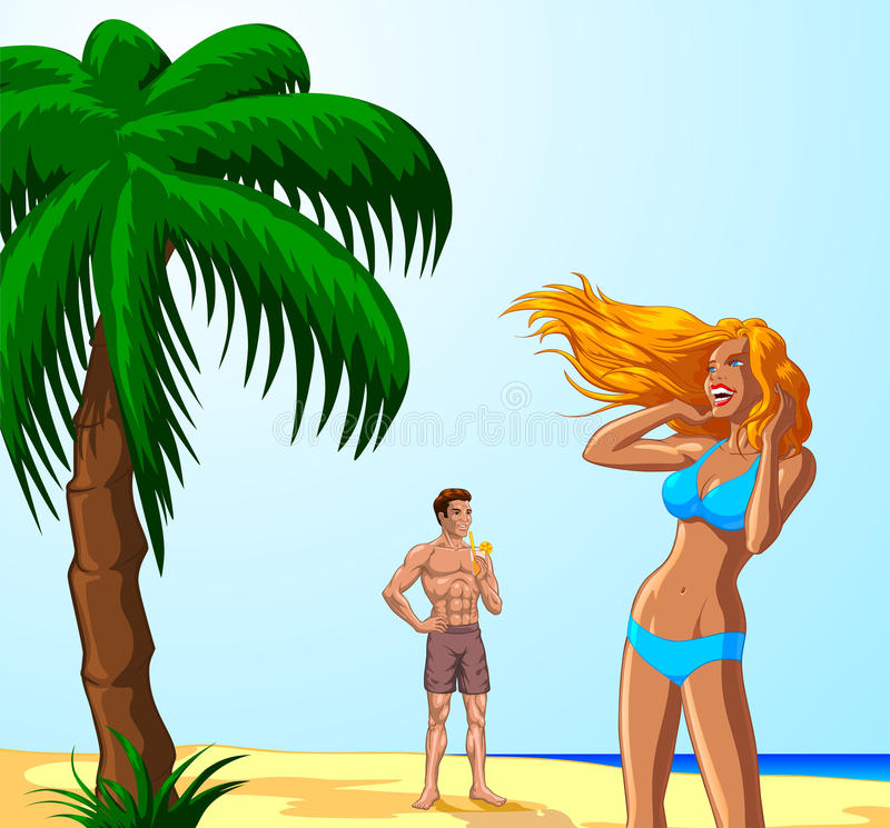 Download Couple on tropical beach stock vector. Illustration of beach - 34277071