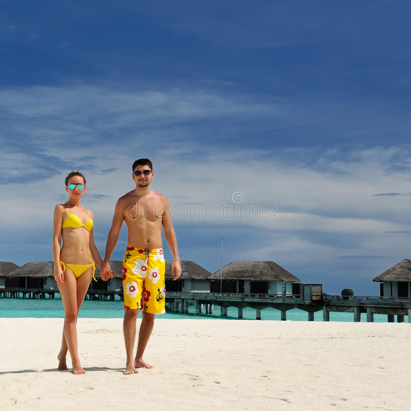 Download Couple On A Beach At Maldives Stock Image - Image: 30105473