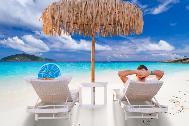 Couple on tropical holidays stock photography