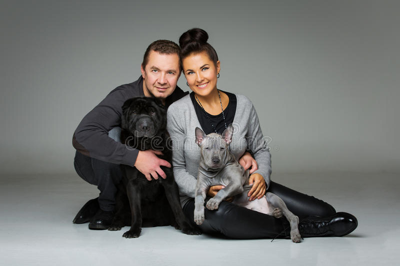 Couple with two dogs. Beautiful middle aged couple with thai ridgeback puppy and black shar pei dogs. studio shot on grey background. copy space royalty free stock image