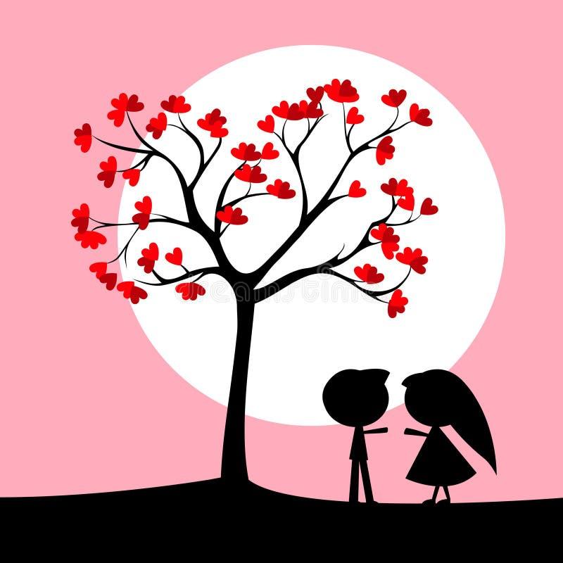 Couple under love tree royalty free illustration