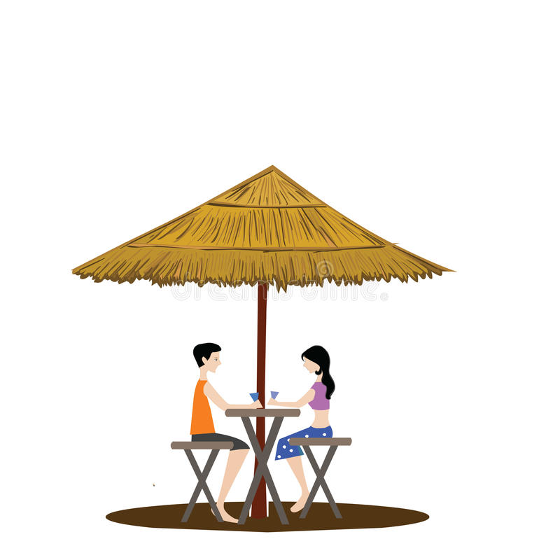 Couple Under A Shed Drinking, White Background Stock Photo
