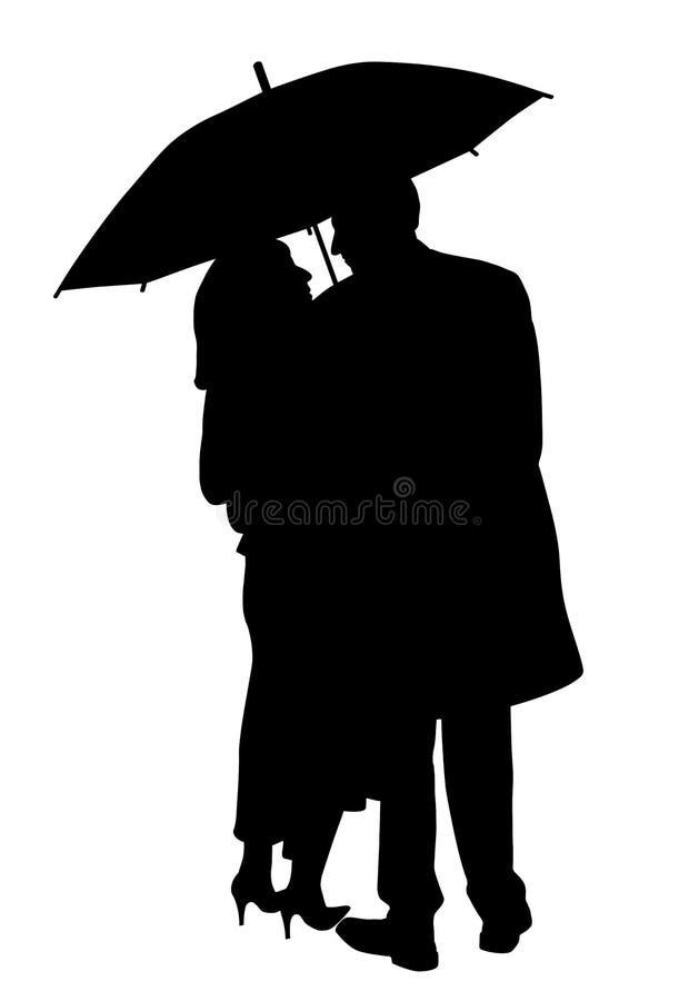 Couple under an umbrella vector illustration