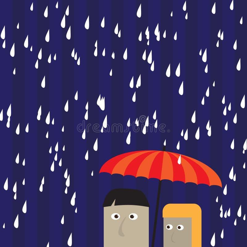 Couple under an umbrella stock photo