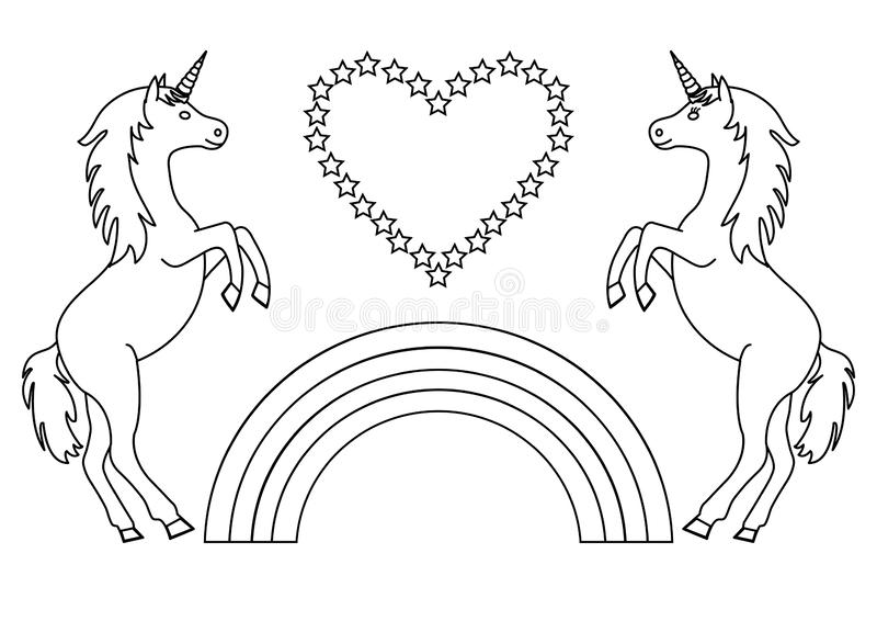 Couple Unicorns With Rainbow And Heart With Stars Coloring Page For Children Vector Stock Illustration Illustration Of Decorative Couple 146248186