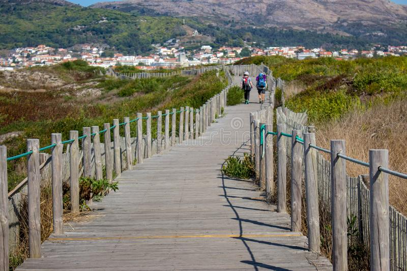 Couple of unknown pilgrims from the back walking on wooden path. Camino de Santiago way concept. Walking pilgrims with backpacks. royalty free stock image