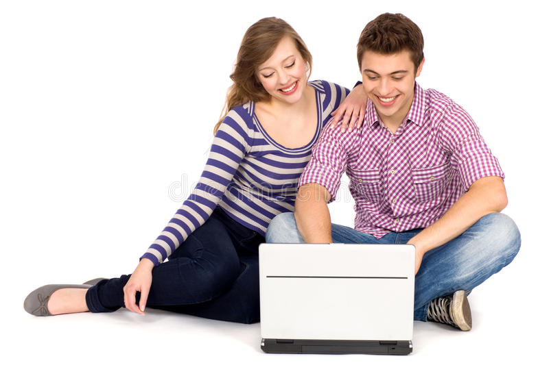 Download Couple Using Laptop Royalty Free Stock Photos - Image: 20084178