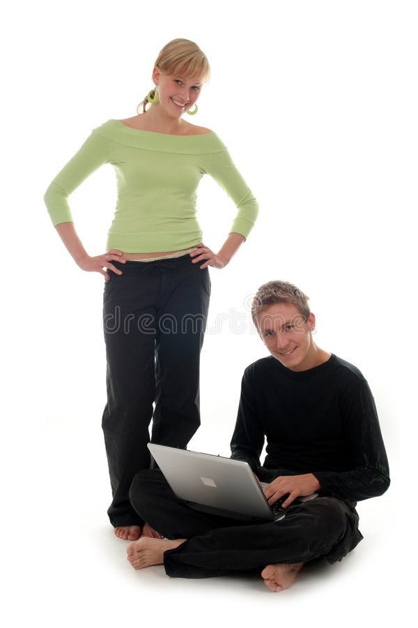 Download Couple Using Laptop Computer Stock Image - Image: 1375311