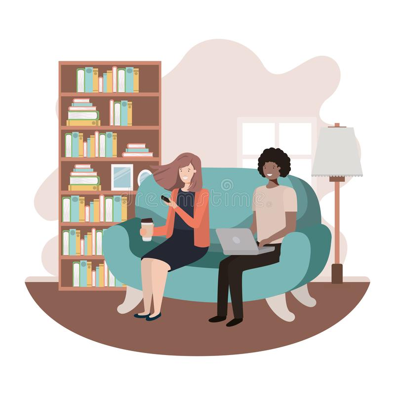 Couple using technology devices in the livingroom. Vector illustration desing royalty free illustration