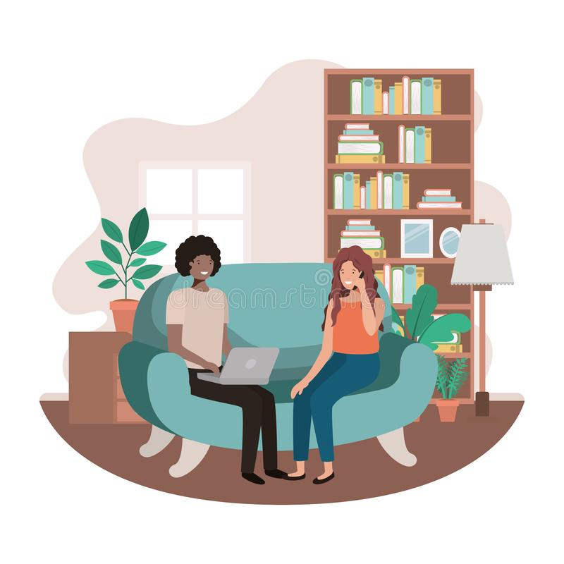 Couple using technology devices in the livingroom. Vector illustration desing stock illustration