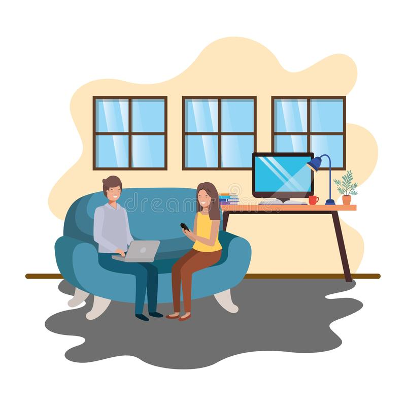 Couple using technology devices in office of work. Vector illustration desing stock illustration