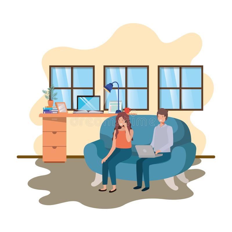Couple using technology devices in office of work. Vector illustration desing vector illustration