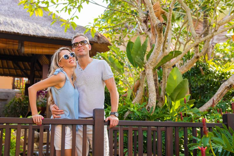 Couple on vacation in tropical resort. Happy couple on vacation in tropical resort stock photos