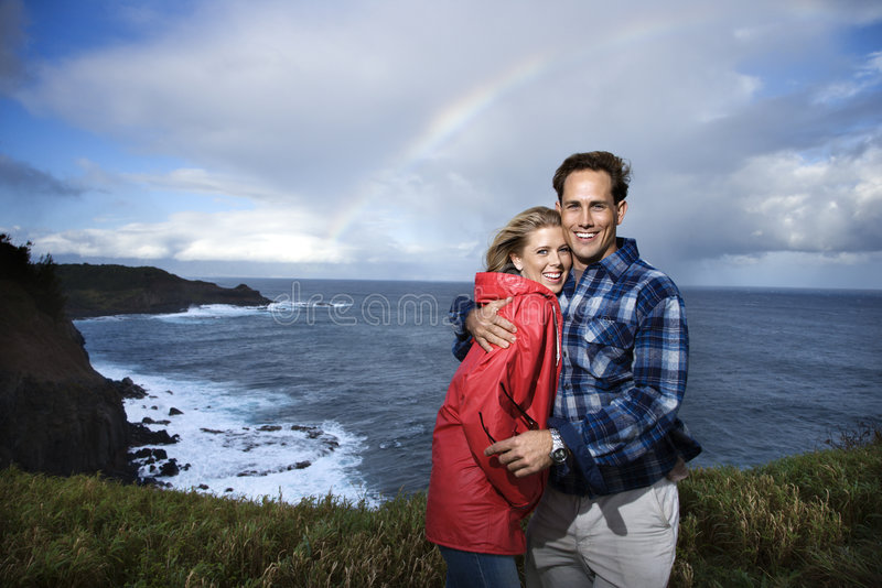Couple vacationing in Maui, Hawaii. stock image