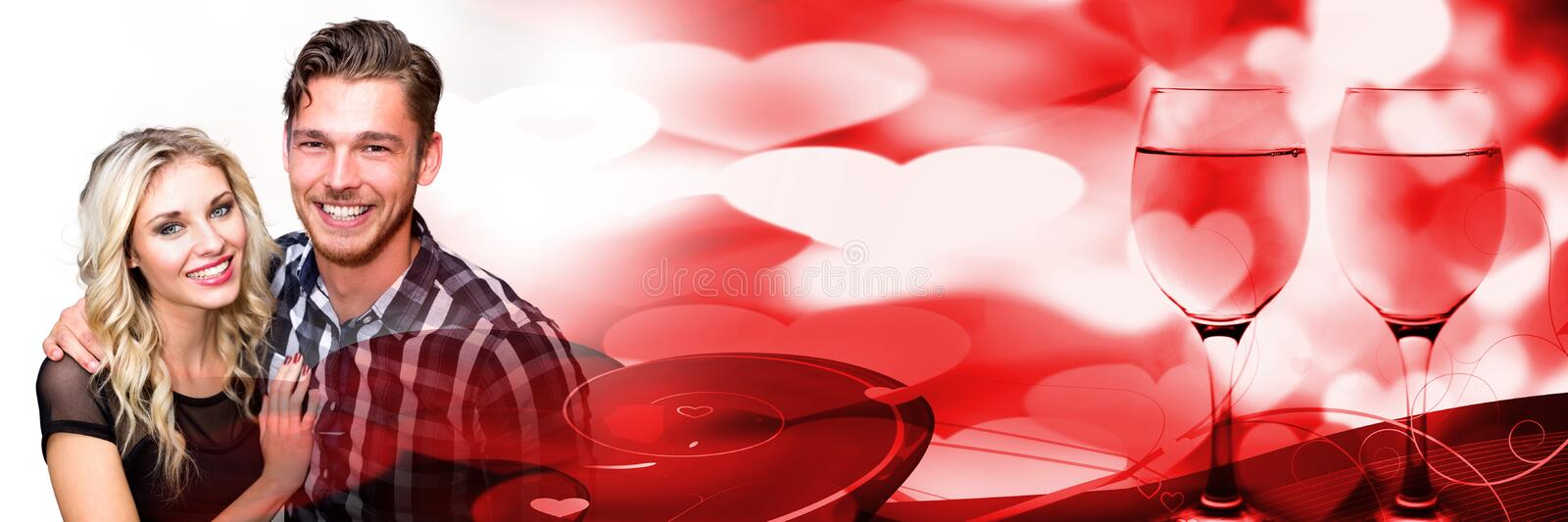 Couple with valentine's love transition hearts royalty free stock photo