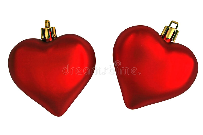 A Couple of Valentines Day Hearts. Two red ornamental hearts representing Valentines Day stock images