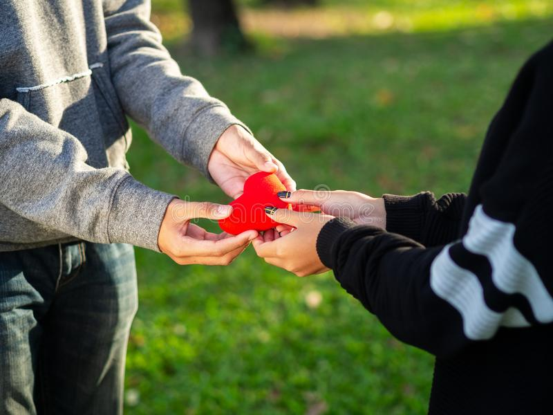 Couple on Valentines day. The man gives red heart to the woman in the park. Love, Valentines Day royalty free stock image