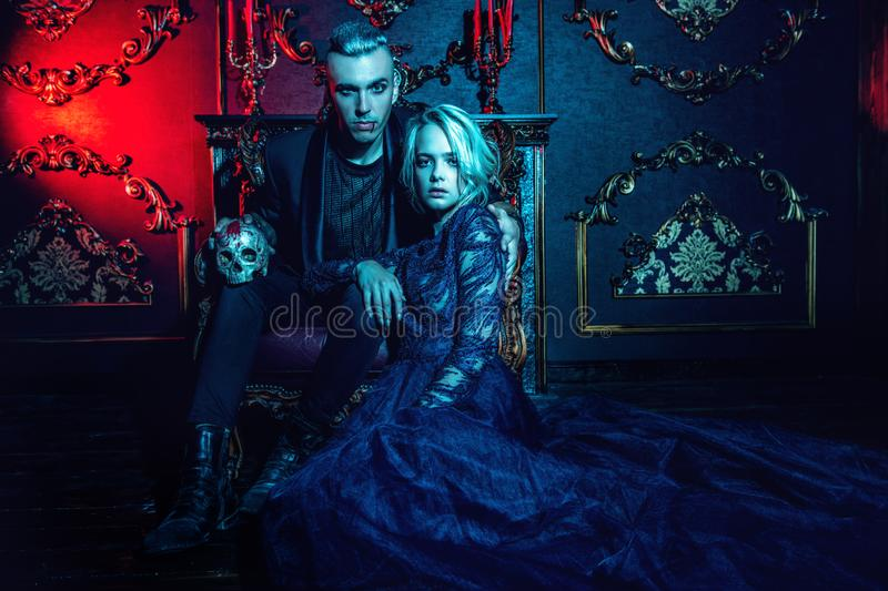 Couple of vampires together stock images