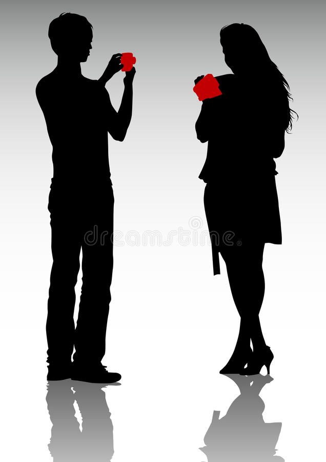 Couple with video camera stock illustration