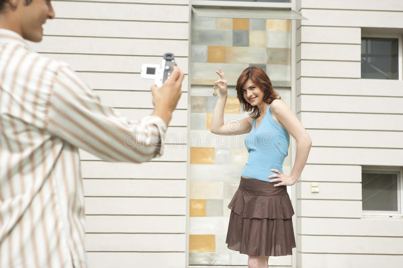 Download Couple Videoing Arrival At New Home Stock Image - Image: 24688281