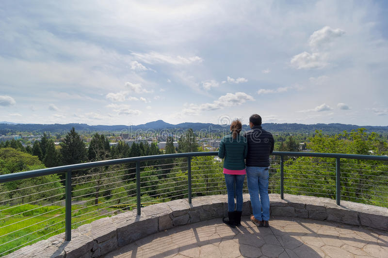 Couple at Viewing Deck on Skinner Butte Park stock images