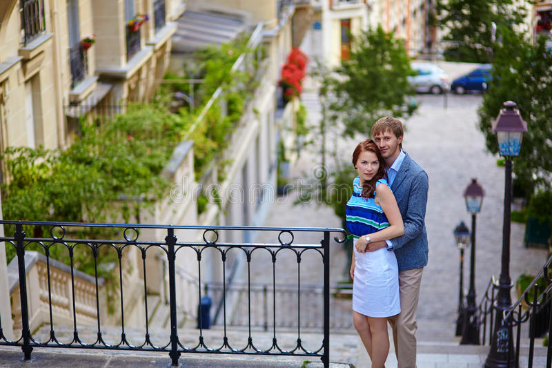 Couple at viewpoint on Montmartre in Paris. Beautiful couple at viewpoint on Montmartre in Paris stock photography