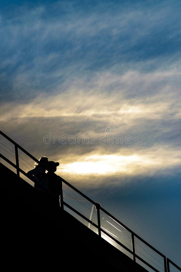 Couple at Viewpoint Silhouette Scene royalty free stock image