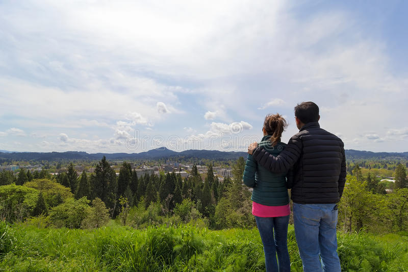 Couple at Viewpoint on Skinner Butte Park royalty free stock photography