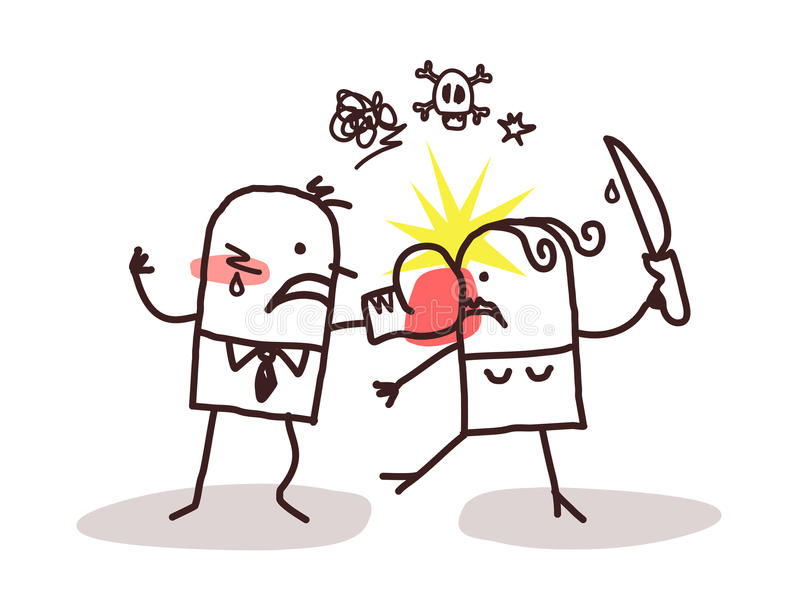 Couple and violence. Cartoon vector illustration