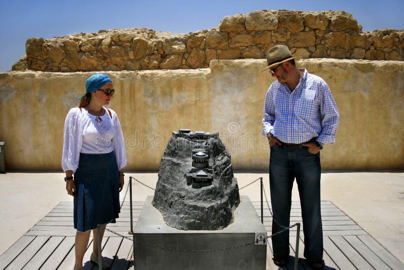 Tourists Visiting The Masada Fortress Israel Stock Images