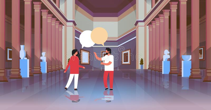 Couple visitors in classic historic museum art gallery hall with columns interior chat bubble communicating looking stock illustration
